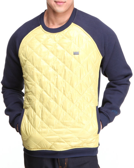 Bass By Ron Bass Gold Nylon Quilted Raglan Crewneck Sweatshirt
