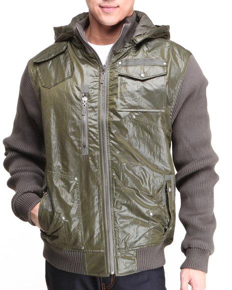 Rocawear - Men Olive Kanji Ribbed Sleeve Full Zip Hoodie (Xl-4X)