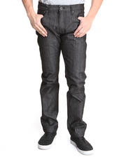 Jeans & Pants - Raw Black/White Microdots Slimt Fit Premium Denim Jeans (Cuff Detail)