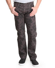Jeans & Pants - Charcoal Print Premium Slim Fit denim Jeans