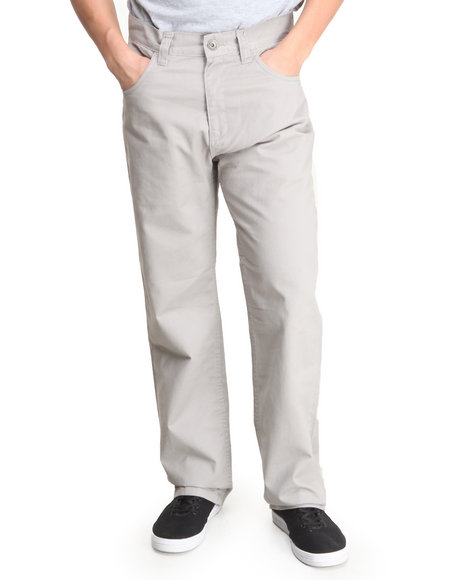 Basic Essentials - Men Grey Brushed Twill Pants