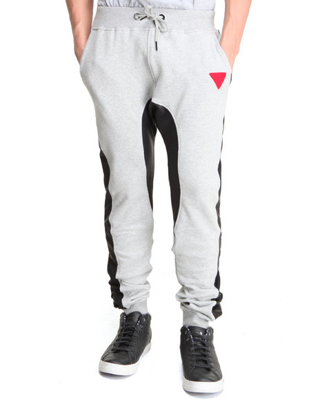 Bass By Ron Bass - Men Grey J C Faux Leather Sweatpants