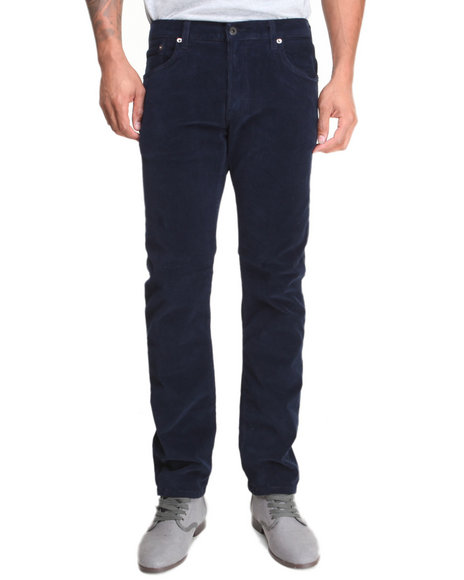 Kennedy Denim Company - Men Navy The 5-Pocket Slim Fit Premium Corduroy Pants