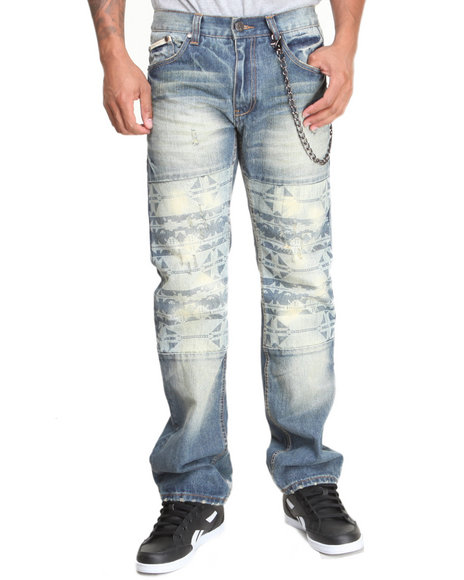 Heritage America Medium Wash Navajo Discharge Printed Denim Jeans
