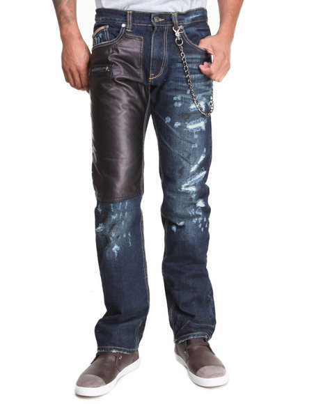 Heritage America Indigo 5-Pocket Denim Jeans W/ Faux Leather And Chain