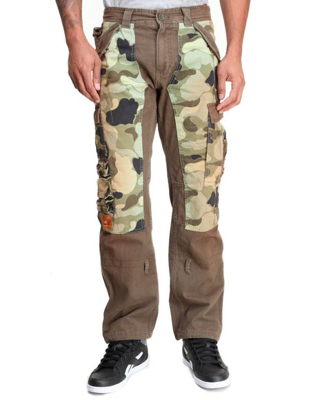 Heritage America - Men Olive Mixed Camo/Cargo Twill Pants