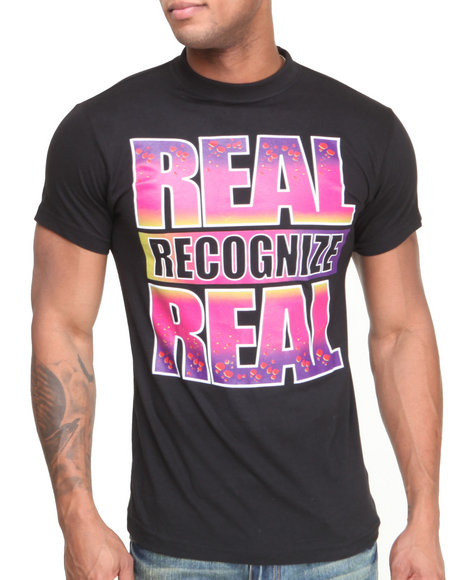 Buyers Picks - Men Black Real Recognize Real Asteroid Tee