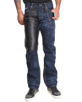 Heritage America - 5-Pocket Navajo Denim Jeans w/ Faux Leather and Chain