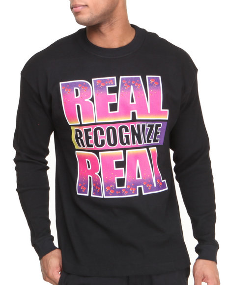 Buyers Picks - Men Black Real Recognize Real Asteroid Thermal Shirt