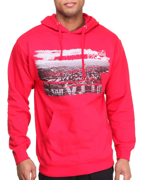 Flysociety - Men Red Skyline Hoodie - $43.99