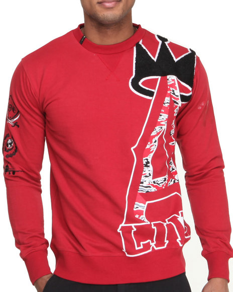 Well Established - Men Red King Gate Crew Neck Sweatshirt W/ Chenille Detail
