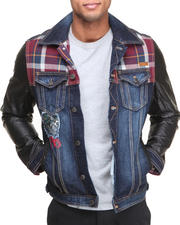Outerwear - Multi-Fabric Pieced Denim Jacket