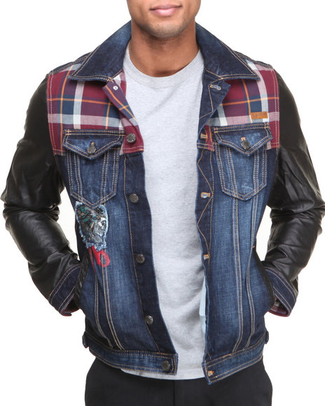 Heritage America - Men Indigo Multi-Fabric Pieced Denim Jacket - $100.99