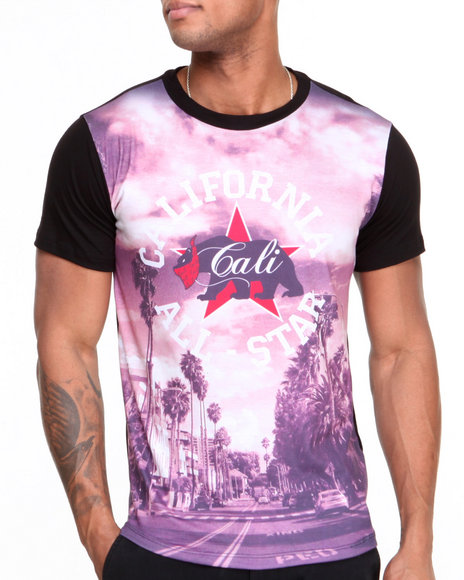 Buyers Picks - Men Multi Cali All Star Tonal Sleeve Sublimation Tee - $11.99