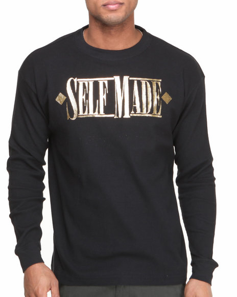 Buyers Picks - Men Black,Gold Self Made Thermal Shirt