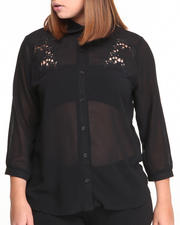 Plus Size - The Garden Chiffon Button Down w/ lace