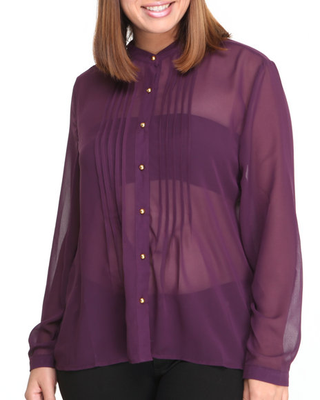 Fashion Lab - Women Purple Carla Basic Button Down Shirt - $9.99
