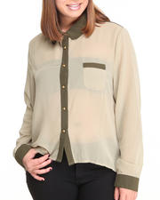 Plus Size - Molina High Lo Chiffon Top Button Down