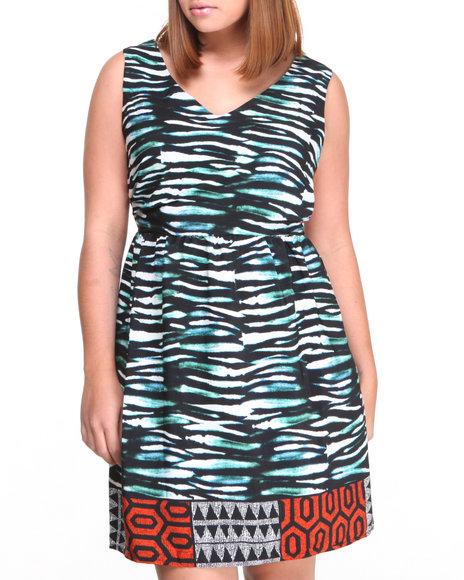 Paperdoll Animal Print,Teal Zebra Aztec Border Print Dress (Plus Size)