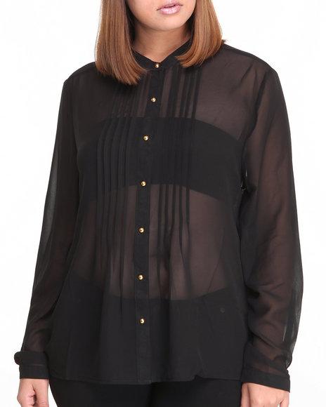 Fashion Lab Black Carla Basic Button Down Shirt