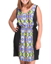 Women - Prism Print V-neck Sheath Dress  (Plus)