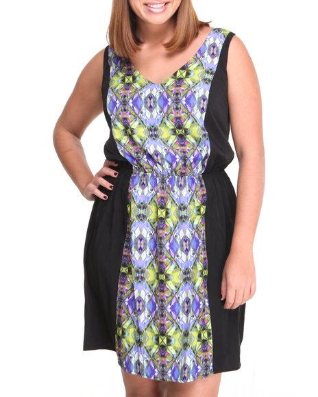 Paperdoll Green,Purple Prism Print V-Neck Sheath Dress (Plus Size)