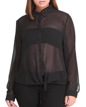Fashion Lab - Sandra Chiffon Button-Down w/ Rhinestones