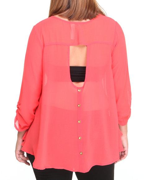 Fashion Lab Pink Lock Chiffon Open Back Top