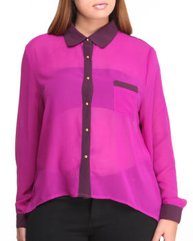 Fashion Lab - Molina High Lo Chiffon Button-Down Top