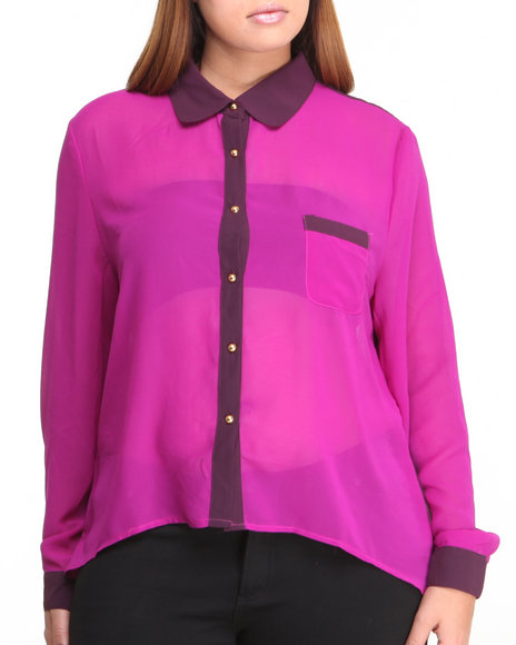 Fashion Lab - Women Purple Molina High Lo Chiffon Button-Down Top - $11.99