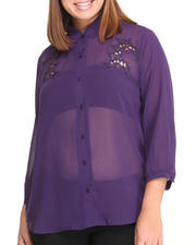 Fashion Lab - The Garden Chiffon Button-Down w/ lace