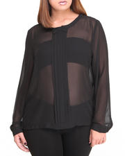 Fashion Lab - Bow Long Sleeve Chiffon Button down