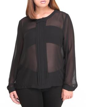 Fashion Lab - Bow Long Sleeve Chiffon Button down
