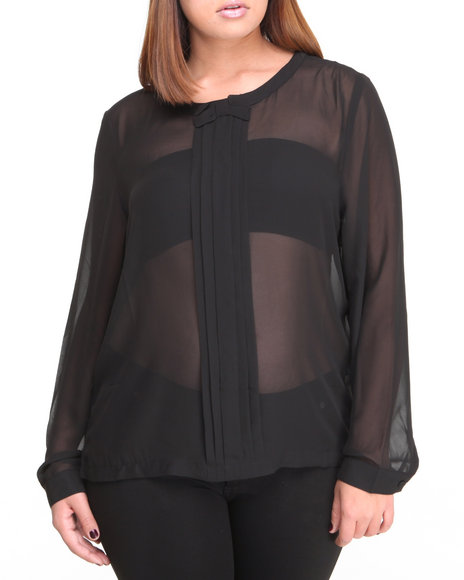 Fashion Lab - Women Black Bow Long Sleeve Chiffon Button Down - $11.99