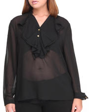 Fashion Lab - Steph Ruffle Long Sleeve Chiffon
