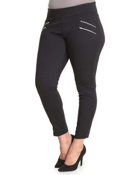 Almost Famous Black Zip Trim Ponte Pull-On Skinny Pant (Plus Size)