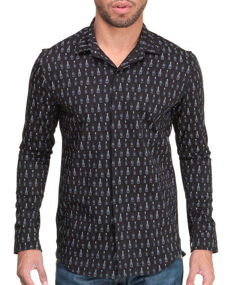 Dope - Men Black Champagne Button-Down Shirt