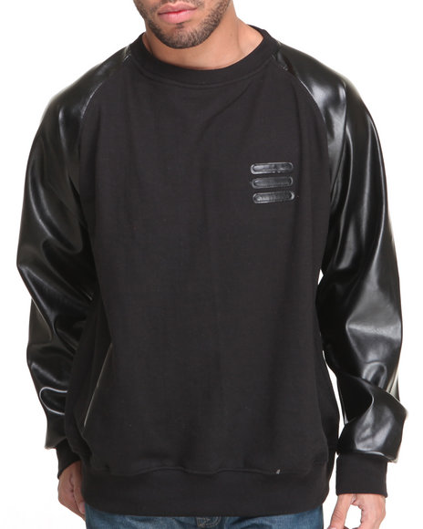 Basic Essentials - Men Black Crewneck Sweatshirt With Vegan Leather Sleeves