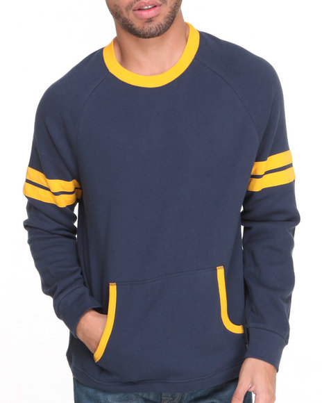 Brixton Navy Boone Crew Fleece Sweatshirt