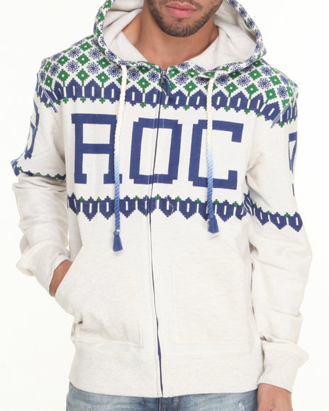 Rocawear Off White Warfare Full Zip Hoodie