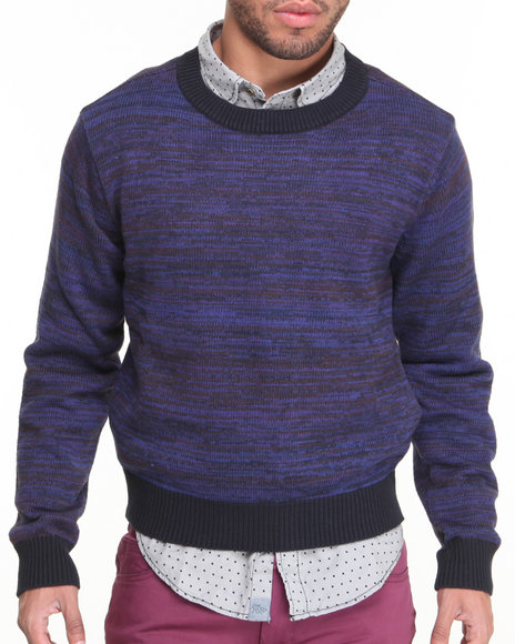 Jachs - Men Navy,Purple Lothario Crew Sweater - $34.99