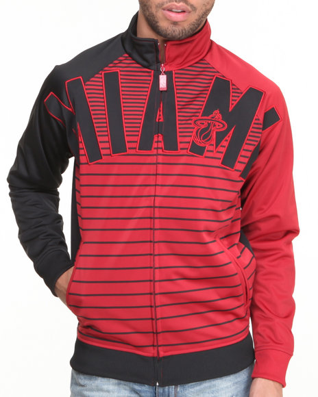 Nba, Mlb, Nfl Gear - Men Red Miami Heat Flatline Track Jacket