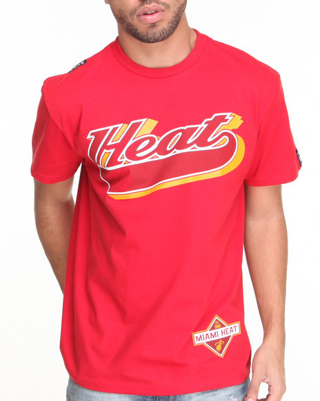 Nba, Mlb, Nfl Gear - Men Red Miami Heats Dugout Tee