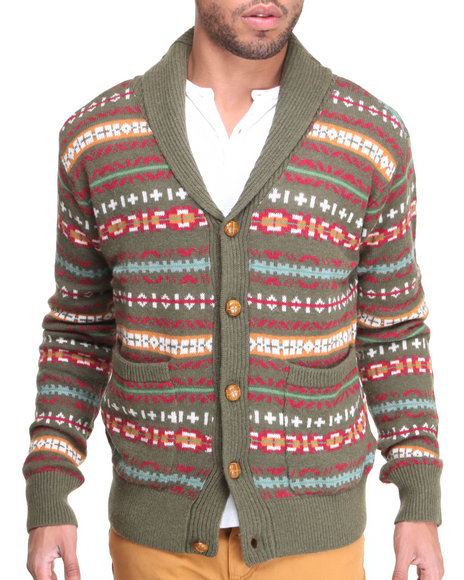 Jachs - Men Green Lorenso Shawl Sweater - $43.99