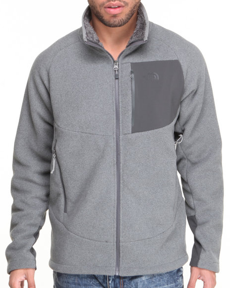 The North Face - Men Grey Chimborazo Full Zip Fleece Jacket