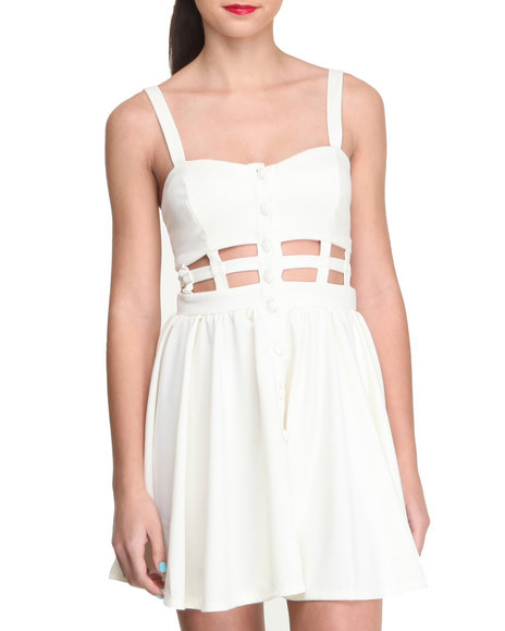 Fashion Lab - Women Ivory Blair Caged Middle Dress - $14.99