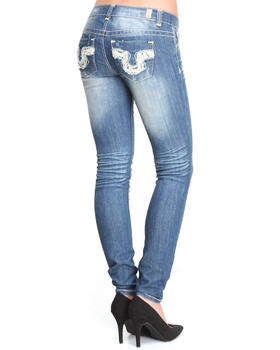 Almost Famous - Distructed Crotchet Back Pocket Skinny Jean