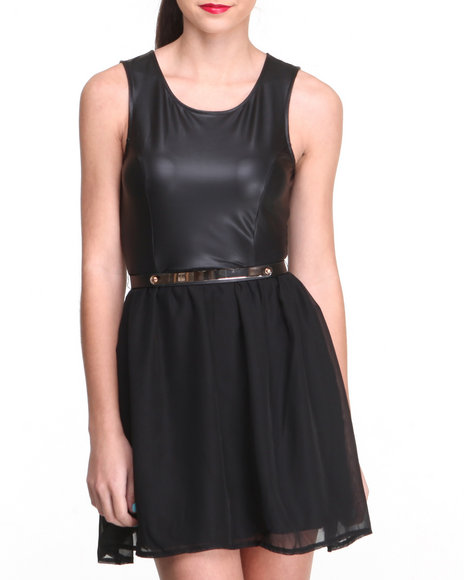 Almost Famous Black Vegan Leather Bodice Belted Chiffon Dress W/ Zip Back