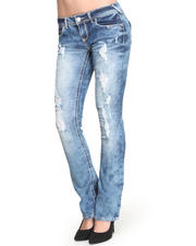Bottoms - Flap Pockets Distressed Skinny Flare Jean