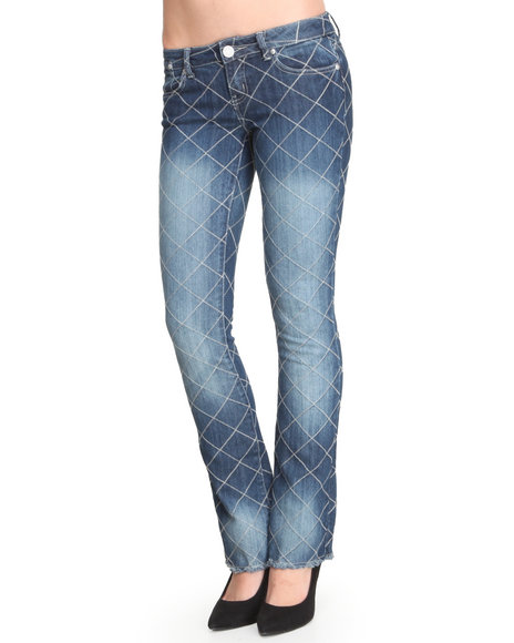 Almost Famous - Checkboard Stiching Slim Flare Jean
